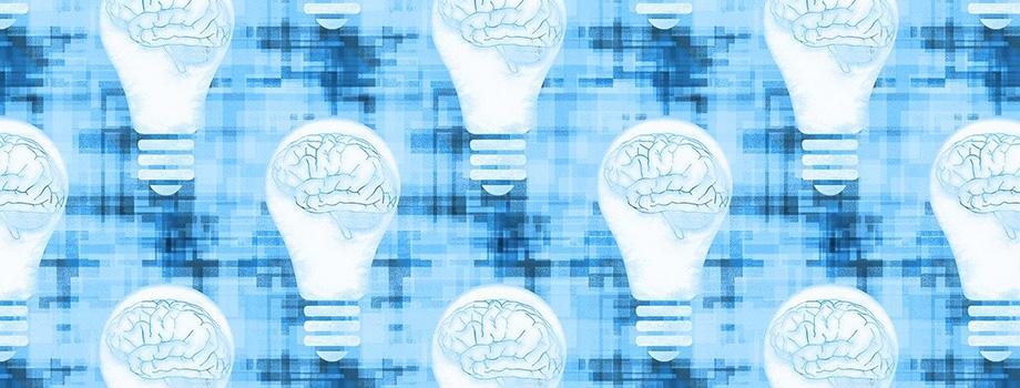 Mosaïque d'ampoules avec un dessin de cerveau représentant l'hypnose