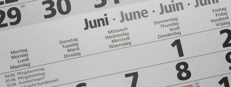 Page de calendrier du mois de juin pour prendre un rendez-vous d'hypnose