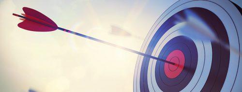 Flèche d'un arc au milieu d'une cible comme un objectif en hypnotherapie